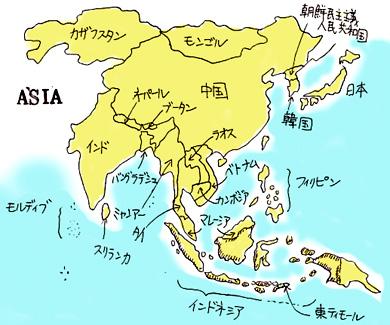 すべての講義 アジア地図国名入り : Asia Travel